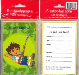 Uitnodigingskaartjes met envelop - Diego groen - 31-003