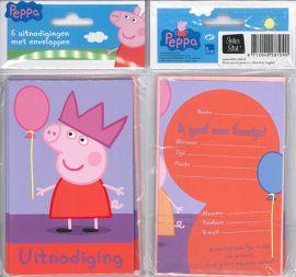 Uitnodigingskaartjes met envelop - Peppa rood - 31-005