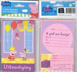 Uitnodigingskaartjes met envelop - Peppa paars - 31-006