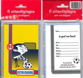 Uitnodigingskaartjes met envelop - Mr. Bean voetbal - 31-009