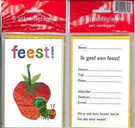 Uitnodigingskaartjes met envelop - Rupsje Nooit Genoeg - 31-019