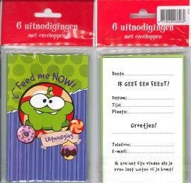 Uitnodigingskaartjes met envelop - Cut the Rope groen - 31-020