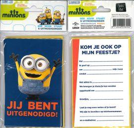 31-034 Uitnodigingskaartjes met envelop - Minions donkerblauw