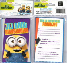 Uitnodigingskaartjes met envelop - Minions paars - 31-035