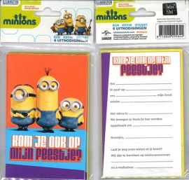 Uitnodigingskaartjes met envelop - Minions oranje - 31-036