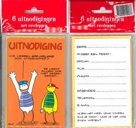 Uitnodigingskaartjes met envelop - Fokke & Sukke oranje - 31-039