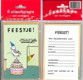 Uitnodigingskaartjes met envelop - Fokke & Sukke feestje lichtgroen - 31-041