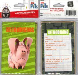 Uitnodigingskaartjes met envelop - The Secret Life Of Pets varken - 31-043