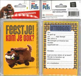 Uitnodigingskaartjes met envelop - The Secret Life Of Pets hond - 31-045