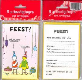 Uitnodigingskaartjes met envelop - Fokke & Sukke feest - 31-046