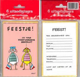 Uitnodigingskaartjes met envelop - Fokke & Sukke feestje roze - 31-047