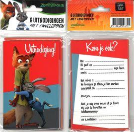 31-049 Uitnodigingskaartjes met envelop - ZooTropolis Rood
