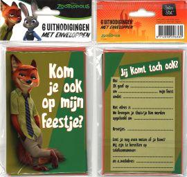 31-050 Uitnodigingskaartjes met envelop - ZooTropolis Groen