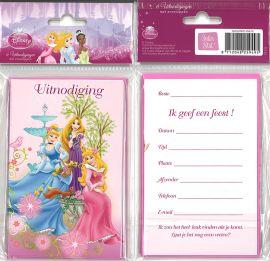 31-052 Uitnodigingskaartjes met envelop - Disney Prinses