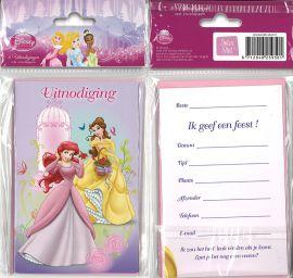 31-053 Uitnodigingskaartjes met envelop - Disney Prinses