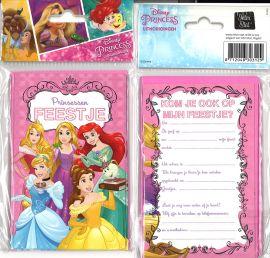 31-054 Uitnodigingskaartjes met envelop - Disney Prinses
