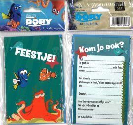 31-059 Uitnodigingskaartjes met envelop - Finding Dory