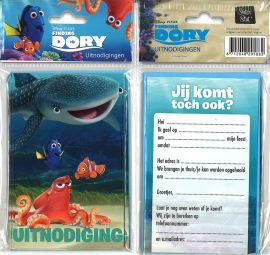 31-060 Uitnodigingskaartjes met envelop - Finding Dory