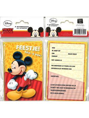 31-073 Uitnodigingskaartjes met envelop - Mickey Mouse